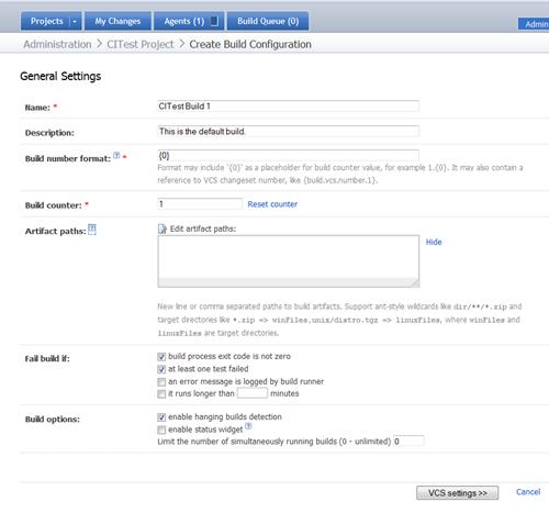 Create Build Configuration