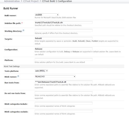 Configure build runner for NUnit