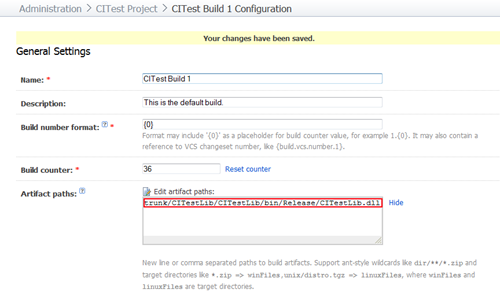 Configure artifacts in TeamCity