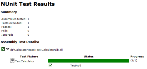 NUnit zest results