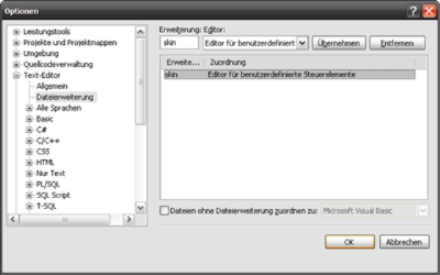 IntelliSense Optionen
